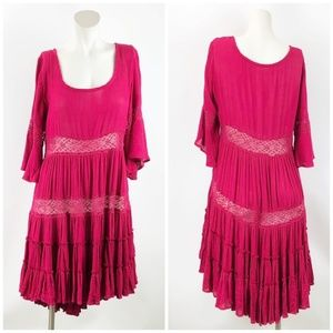 Free People Hot Pink Peasant Boho Pleated Dress
